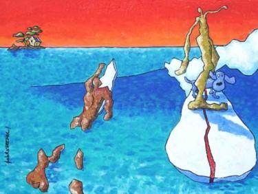 Surfeurs Et Chien Bleu Sur La Planche / Surfers And Blue Dog On The Board